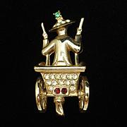 Driving a Rickshaw Figural Brooch Pin