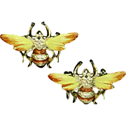 Pair of Enamel Insect Bug Bee Scatter Pins