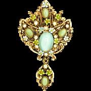 Ornate Drop Pin Enamel and Imitation Moonstones Vintage by Art