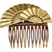 Miriam Haskell Double Fan Design Hair Comb Vintage