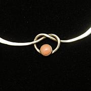 Sterling Silver Knot Necklace Vintage Rhodochrosite