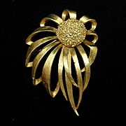 Windblown Flower Brooch Pin Vintage