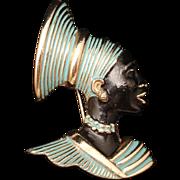 Blackamoor Face Brooch Pin Vintage Enamel