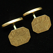 Antique Cuff Links Etched Gold Filled Metal Monogrammed