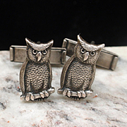 Owl Figural Cuff Links Vintage Kokosing Chapter's Wroena