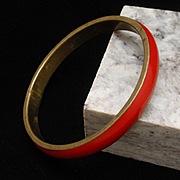 Red Bangle Bracelet Vintage Enamel over Brass