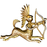 Zodiac Sagittarius Brooch Pin Vintage
