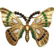 Jeweled Butterfly Brooch Pin Vintage
