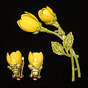 Yellow Enamel Flower Pin  and Earrings Set Vintage Coro