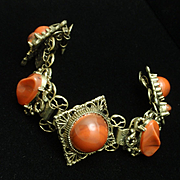 Chunky Vintage Bracelet with Orange Stones