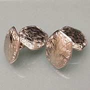 Etched Silver Tone Metal Vintage Cuff Links