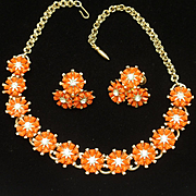 Orange Flowers Necklace Earrings Set Vintage Coro