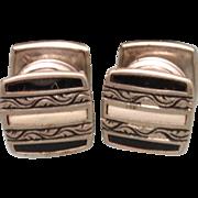 Striped Enamel Snap Cuff Links Vintage 1920s B&W Kum-Apart