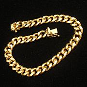 Gold Tone Metal Chain Charm Bracelet JB pat. pend. 1960s