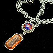 Dragon's Breath and Intaglio Double Pendant Necklace Vintage