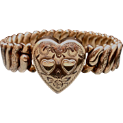 Expansion Bracelet with Heart and Chased Links Vintage