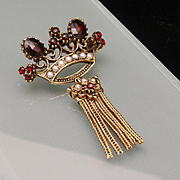 Crown Pin with Tassel Vintage by Art