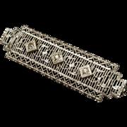 White Metal Milgrain Bar Pin Vintage