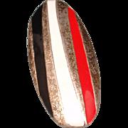Striped Pendant Red White Black Vintage