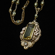 Czech Pendant Necklace Vintage Lots of Details