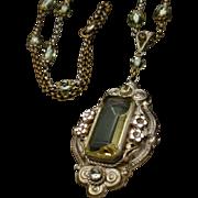 Czech Pendant Necklace Vintage Lots of Details