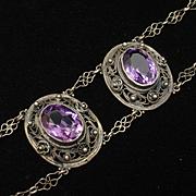 Unusual Vintage Bracelet with Purple Stones