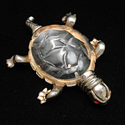 Turtle Pin Molded Lucite Body Vintage
