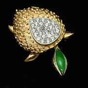 Turtle Pin Brooch Vintage Rhinestones JJ