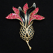 Trifari Ginger Flower Pin Brooch Vintage Fuchsia Black Gold