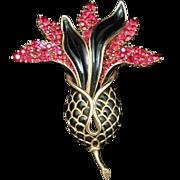 Trifari Ginger Flower Pin Brooch Vintage Fuchsia Black Gold