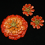 Trifari Chrysanthemum Flower Pin and Earrings Set Orange Enamel Vintage