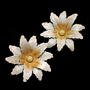 White and Yellow Flower Earrings Vintage Clips