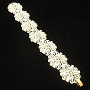 Trifari White Enamel Vintage Bracelet