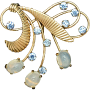 Moonstones and Rhinestones Pendant Vintage Gold Filled Van Dell