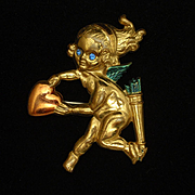 Cupid Brooch Pin with Translucent Enamel Vintage