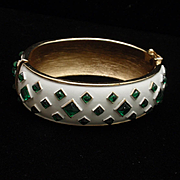 Trifari Emerald Rhinestone and White Enamel Clamper Bracelet Vintage