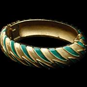 Trifari Enamel Flame Design Hinged Clamper Bracelet Vintage