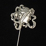 Art Nouveau Lady Hat Pin