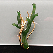 Imitation Green Branch Coral Brooch Pin Vintage