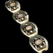 Taxco Opal Glass and Silver Tone Metal Bracelet Vintage