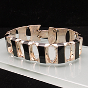Taxco Sterling Silver Bracelet with Black Panels