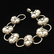 Taxco 980 Silver Ball and Link Bracelet Vintage