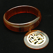 Tortoiseshell Bakelite Bangle Bracelet with Asian Charm Vintage