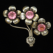 Triple Flower Pin with Pink Rhinestones