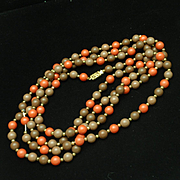 "53"" Bead Necklace Dusty Lilac and Burnt Orange"