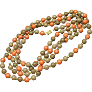 """53"""" Bead Necklace Dusty Lilac and Burnt Orange"""