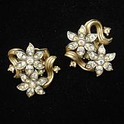Trifari Rhinestone Earrings Vintage