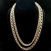 Vintage Chain Necklace Double Curb Links in Two Sizes with Texture