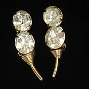 Vintage Earrings with Large Clear Rhinestones