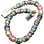 """Sterling Silver and Multi-Colored Bead Bracelet Vintage Mexico 8 1/4"""" Long"""